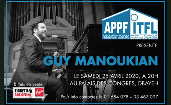 Guy Manoukian Performing Live at Palais Des Congres, Dbayeh on 25 April... Get your tickets now!