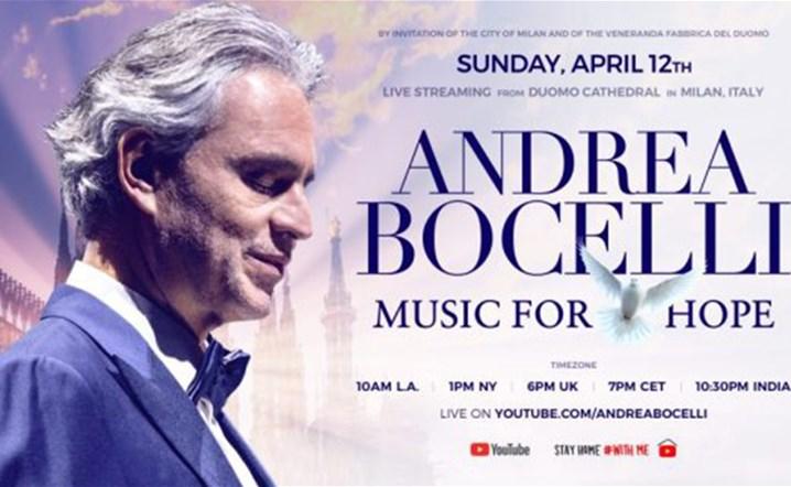 شاهدوا أندريا بوتشيلي يقيم حفلة مباشرة من كاتدرائية دومو التاريخية يوم الأحد 12 نيسان