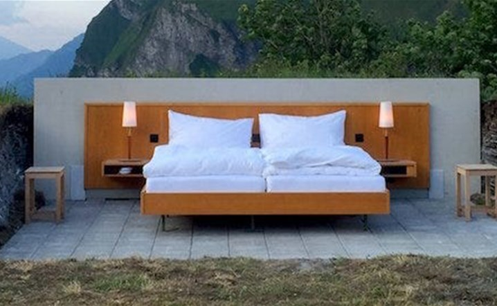 This hotel room in the Swiss Alps has no roof or walls