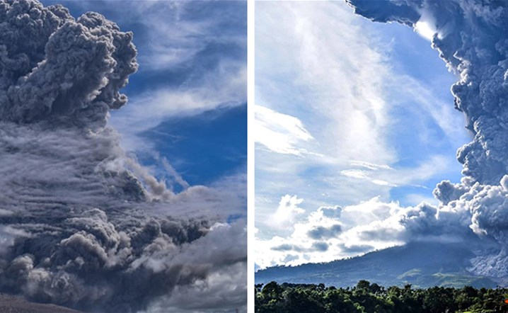 Indonesia's Volcano Mount Sinabung Erupts, Spewing Ash Miles High