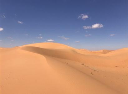 بين كثبان الرمال الحمراء الناعمة